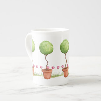 Green Topiary with Pink Tulips Tea Cup