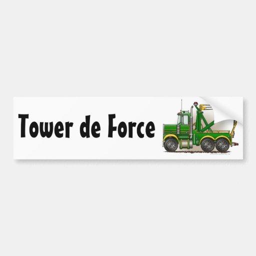 """""""Green Tow Truck Wrecker, Tower de Force Bumper St Bumper Stickers"""