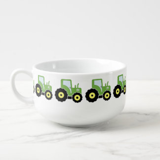 Green toy tractor soup mug
