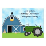 Green Tractor and Blue Barn Birthday Invite ~ Boys 13 Cm X 18 Cm Invitation Card