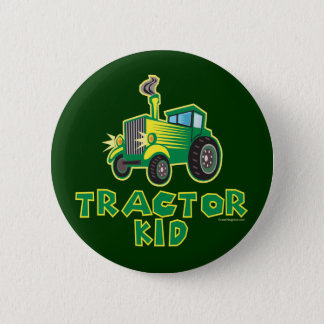 Green Tractor Kid 6 Cm Round Badge
