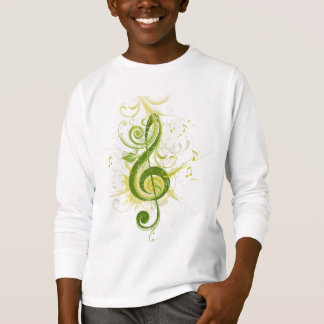 Green Treble Clef White Long Sleeve T-Shirt