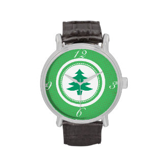 Green Tree and Polkadots Wristwatches