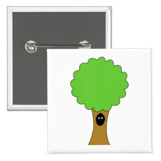 Green tree cartoon with creature. button