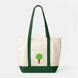 Green tree cartoon with creature. canvas bag