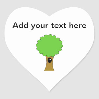 Green tree cartoon with creature. heart sticker