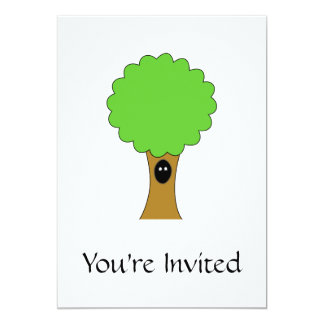 Green tree cartoon with creature. personalized invite
