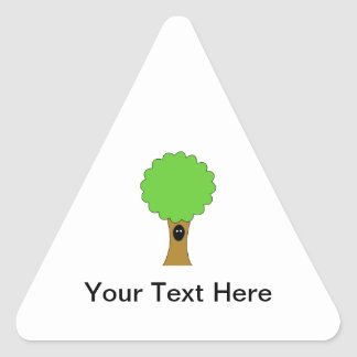 Green tree cartoon with creature. triangle sticker