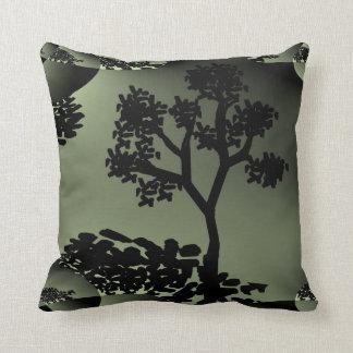 Green Tree Fractal design Throw Pillow