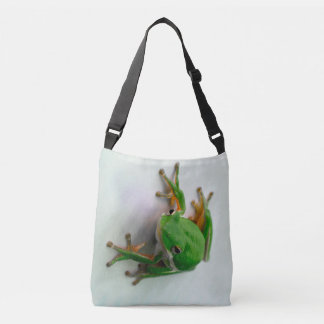 Green Tree Frog allover print cross body bag tote