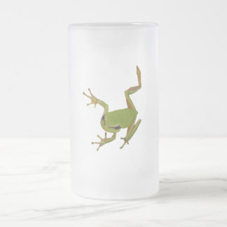 Green Tree Frog Isolated Frosted Glass Mug