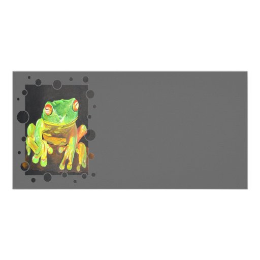 Green Tree Frog Photo Card Template