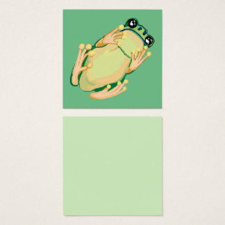 Green tree frog square business card