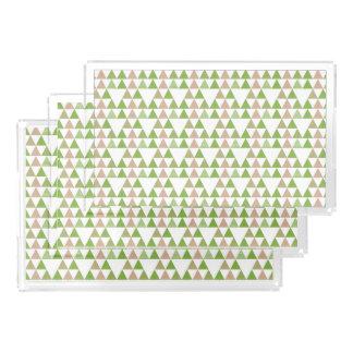 Green Tree Kale Greenery Triangle Geometric Mosaic Acrylic Tray