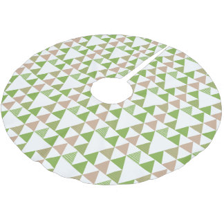 Green Tree Kale Greenery Triangle Geometric Mosaic Brushed Polyester Tree Skirt