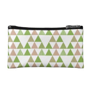 Green Tree Kale Greenery Triangle Geometric Mosaic Cosmetic Bag