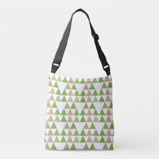 Green Tree Kale Greenery Triangle Geometric Mosaic Crossbody Bag
