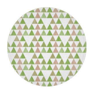 Green Tree Kale Greenery Triangle Geometric Mosaic Cutting Board
