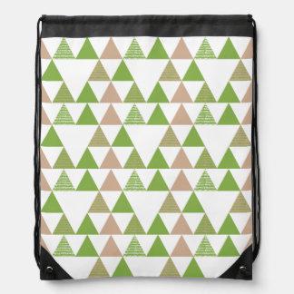 Green Tree Kale Greenery Triangle Geometric Mosaic Drawstring Bag
