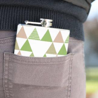 Green Tree Kale Greenery Triangle Geometric Mosaic Hip Flask