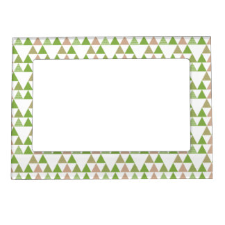 Green Tree Kale Greenery Triangle Geometric Mosaic Picture Frame Magnets