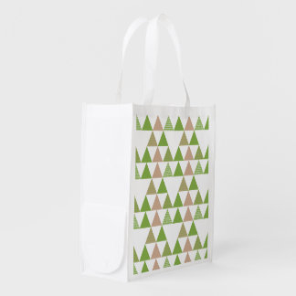 Green Tree Kale Greenery Triangle Geometric Mosaic Reusable Grocery Bag