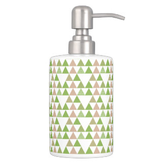 Green Tree Kale Greenery Triangle Geometric Mosaic Soap Dispenser And Toothbrush Holder