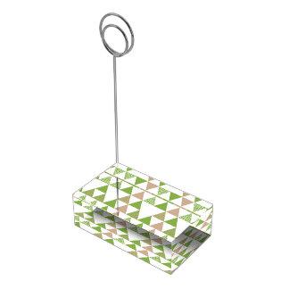 Green Tree Kale Greenery Triangle Geometric Mosaic Table Card Holder
