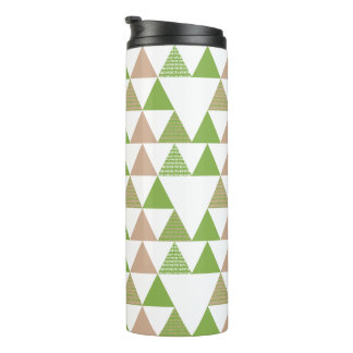 Green Tree Kale Greenery Triangle Geometric Mosaic Thermal Tumbler