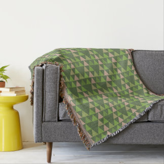 Green Tree Kale Greenery Triangle Geometric Mosaic Throw Blanket