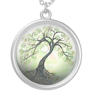 Green Tree of Life Moon Peaceful Necklace