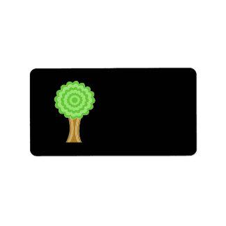 Green Tree. On black background. Address Label