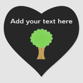 Green Tree. On black background. Heart Sticker
