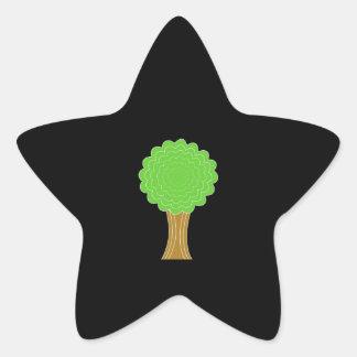Green Tree. On black background. Star Sticker