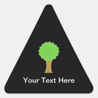 Green Tree. On black background. Triangle Sticker