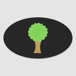 Green Tree. On black background. Oval Sticker
