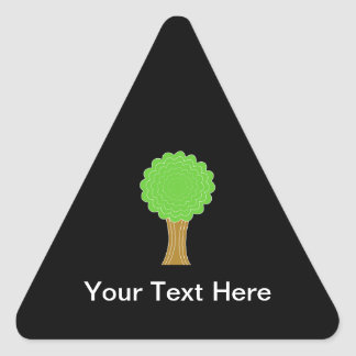 Green Tree. On black background. Triangle Sticker