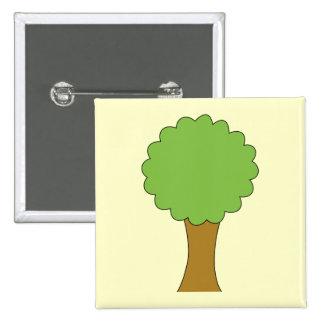 Green Tree. On cream background. Button