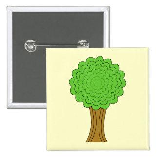 Green Tree. On cream background. Pinback Button