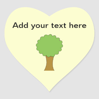 Green Tree. On cream background. Heart Sticker