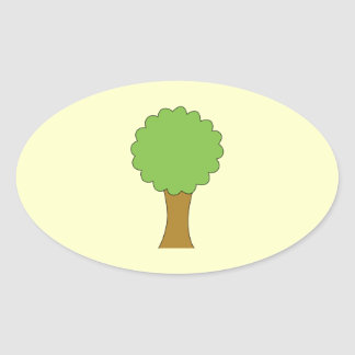 Green Tree. On cream background. Oval Sticker
