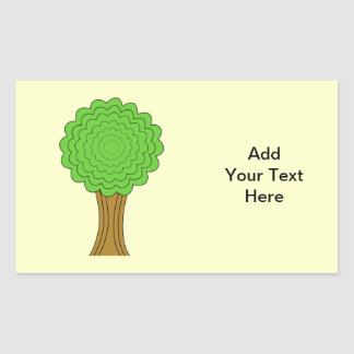 Green Tree. On cream background. Rectangular Sticker