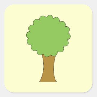 Green Tree. On cream background. Sticker