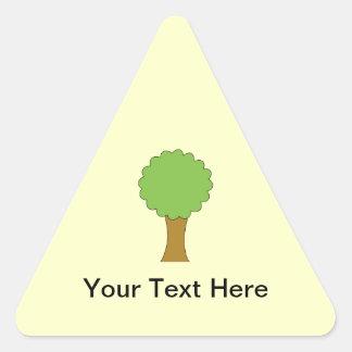 Green Tree. On cream background. Triangle Sticker