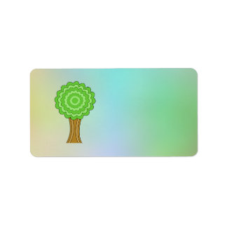Green Tree. On multicolored background. Address Label