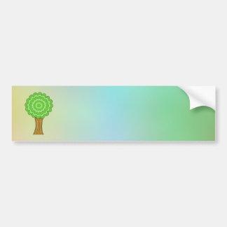 Green Tree. On multicolored background. Bumper Sticker