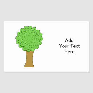Green Tree. On white background. Rectangular Sticker