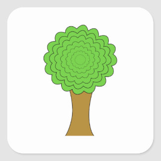 Green Tree. On white background. Square Sticker