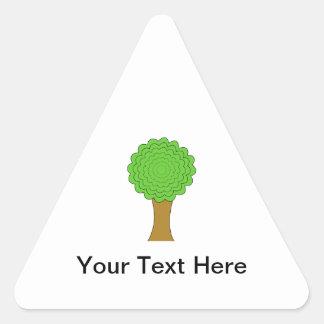Green Tree. On white background. Triangle Sticker