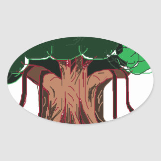 Green Tree Oval Sticker